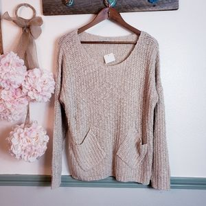 SUSAN MONROE Business Comfy Beige Knit Sweater